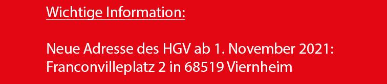 Neue Adresse des HGV ab 1. November 2021